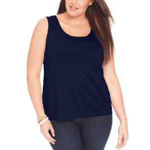 3x Blue Sleeveless Knit Tank Top Plus Size NEW